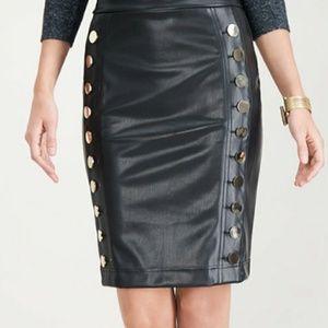 Faux-Leather Button Pencil Skirt